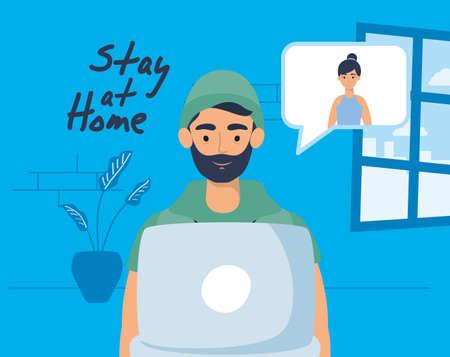 man using laptop to communicate and stay home vector illustration design Illusztráció