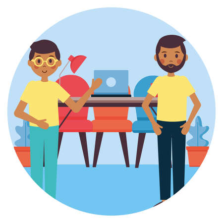 people office workplace vector illustration design image Illusztráció