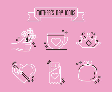 bundle of mothers day icons vector illustration design