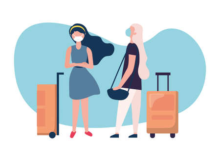 Women with medical masks and bags design, Cancelled flights travel and airport theme Vector illustration Vettoriali