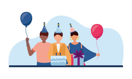 Men and woman with cake and gift design, Happy birthday card celebration decoration surprise party anniversay and invitation theme Vector illustration