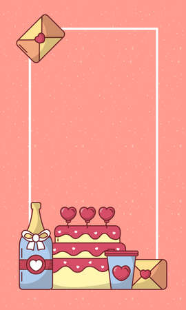 Hearts cake champagne bottle coffee mug and card design of Valentines day love and passion theme Vector illustration