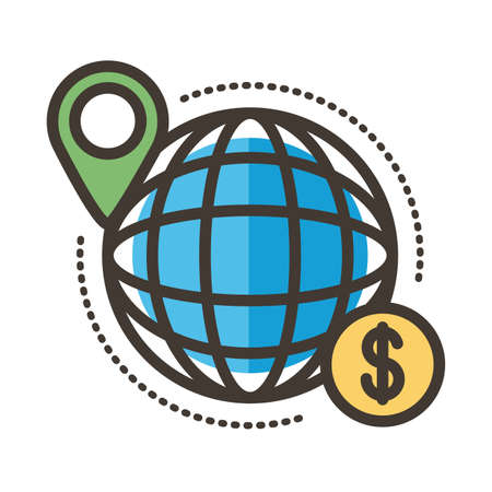 sphere browser with coin line and fill style vector illustration design