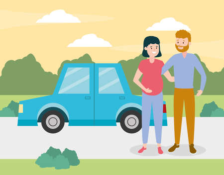 family smiling pregnant couple with car vector illustration design