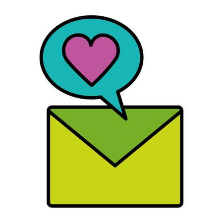 message email love social media vector illustration