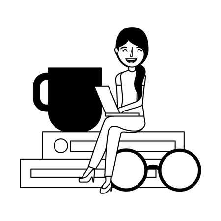 woman with laptop sitting on books with eyeglasses coffee cup vector illustration Illustration