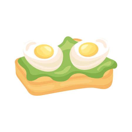 frieds eggs in bread with lettuce breakfast detailed style icon vector illustration design