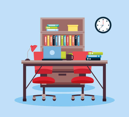 office interior workplace furniture background vector illustration design Illusztráció