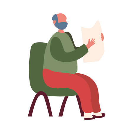 Grandfather on chair with newspaper design, Old man male person father grandparents family senior and people theme Vector illustration Illustration