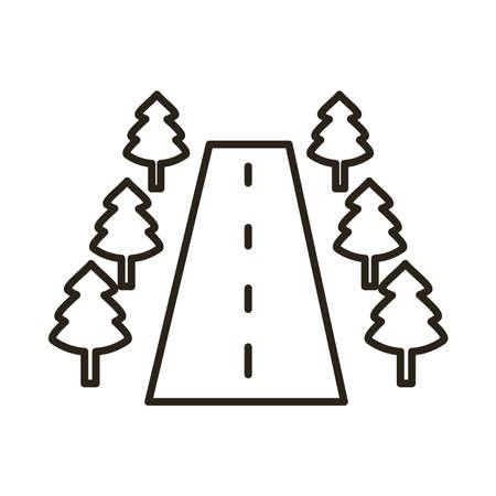 road with trees scene line style icon vector illustration design Ilustração