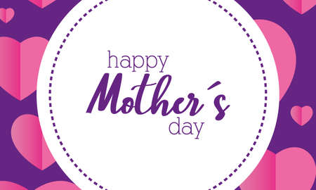 happy mothers day card with floral circular frame vector illustration design Illustration