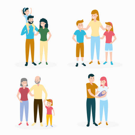 people characters family day set vector illustration design