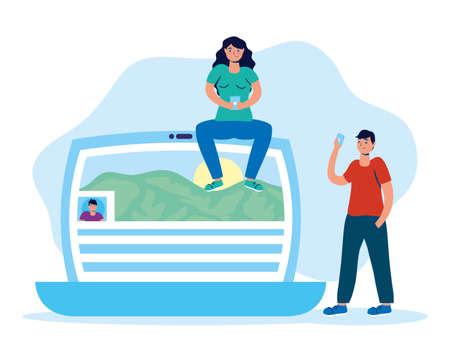 couple using smartphone in laptop social media technology vector illustration design