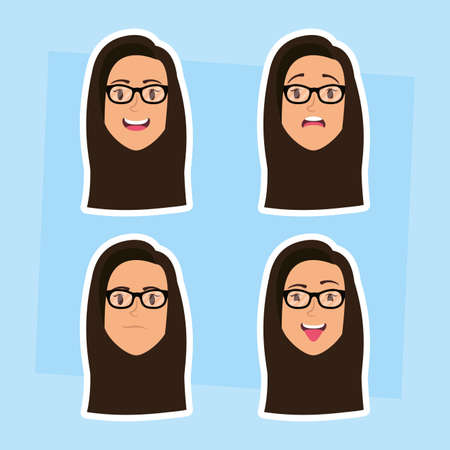 group of women with eyeglasses heads and expressions vector illustration design