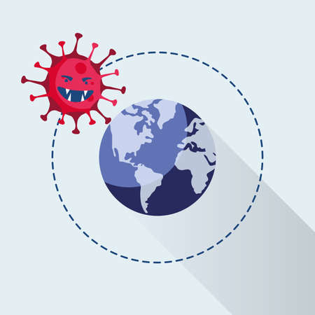 covid19 pandemic particle with world planet earth vector illustration design Ilustração