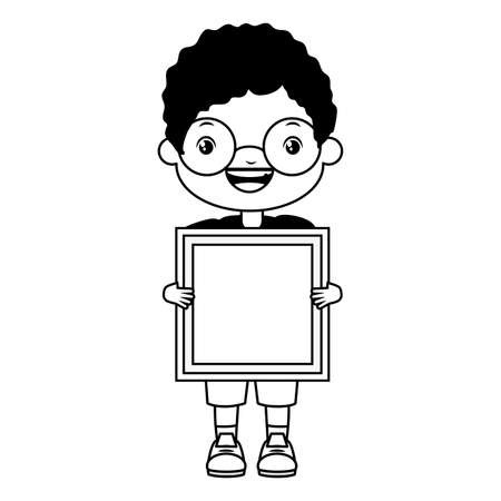 girl happy holding cube kids zone vector illustration Vectores