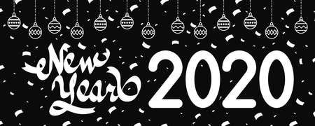 happy new year 2020 lettering with balls hanging vector illustration design