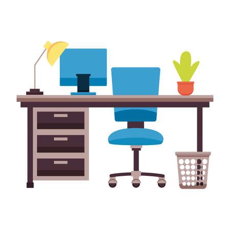 desk chair laptop plant paper bin lamp plant workplace office furniture vector illustration Illusztráció