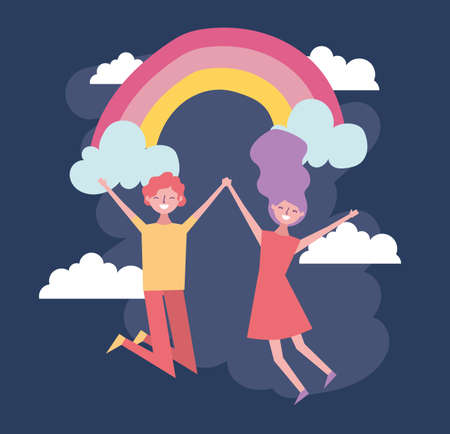 valentines day celebration with lovers and rainbow vector illustration design