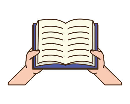 hhands with open book - world book day vector illustration