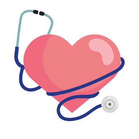 Heart with stethoscope design of Medical care health and emergency theme Vector illustration Illustration