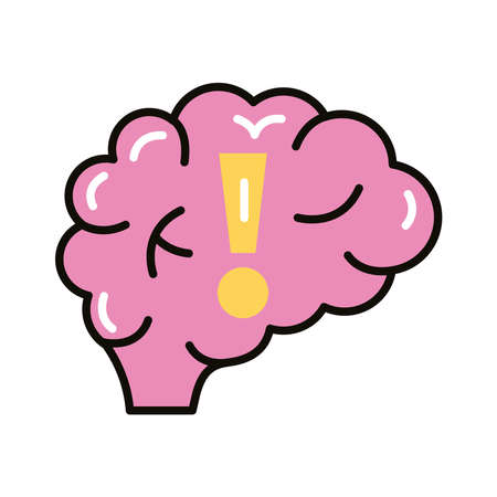 brain human with alert symbol line and fill style icon vector illustration design Illustration