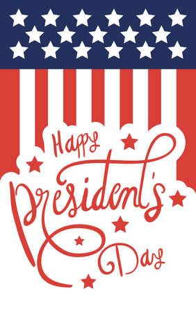 happy presidents day poster with usa flag vector illustration design Illustration