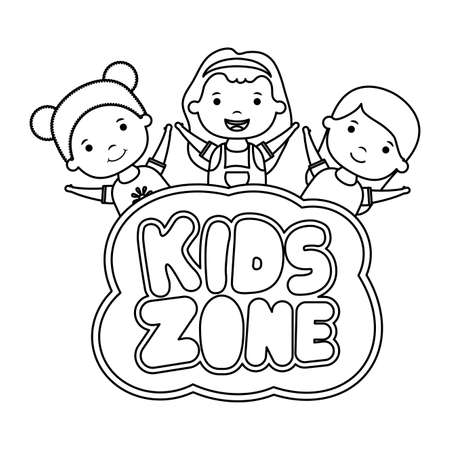 cute little girls with kids zone lettering vector illustration design Vectores