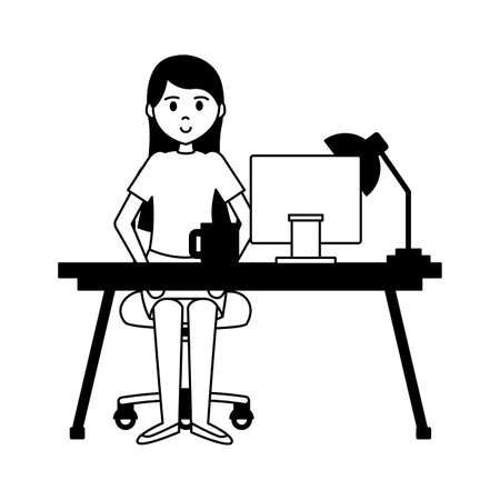 woman sitting working office desk laptop lamp coffee cup vector illustration Illustration