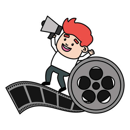 director with speaker and reel filmstrip production vector illustration Ilustracja