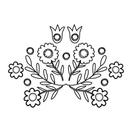 beautiful flowers garden decoration icon vector illustration design