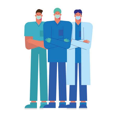 professional male doctors wearing medical masks vector illustration design