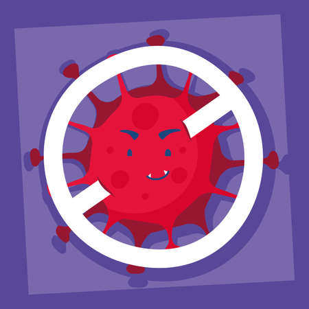 virus particle with denied symbol comic character vector illustration design Illustration
