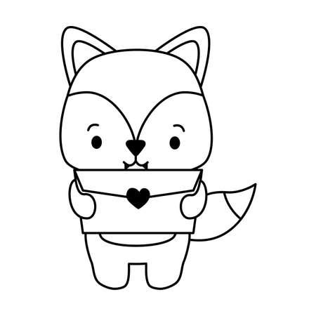 cute fox cartoon mail love vector illustration