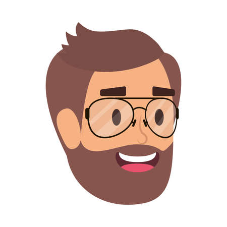 young man head with beard and eyeglasses vector illustration design Illustration