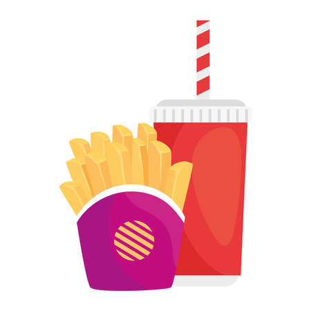 potatoes french fries with drink on white background vector illustration design
