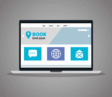 mockup responsive web, concept website development in laptop vector illustration design