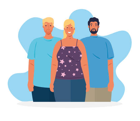 multiethnic people together, woman and men, diversity and multiculturalism concept vector illustration design