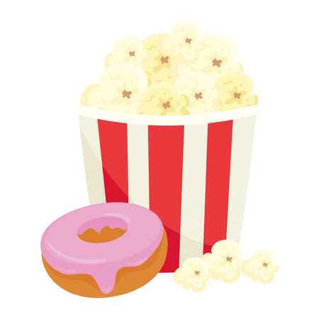 vsweet donut with popcorn, on white background vector illustration design