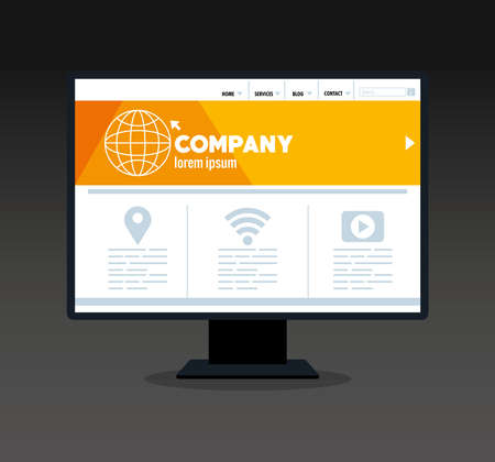 mockup responsive web, concept website development in desktop computer vector illustration design