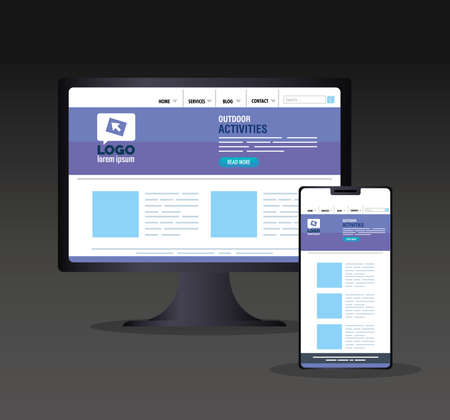 mockup responsive web, concept website development in desktop computer and smartphone vector illustration design