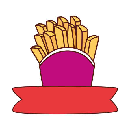 potatoes french fries with ribbon, on white background vector illustration design Illusztráció