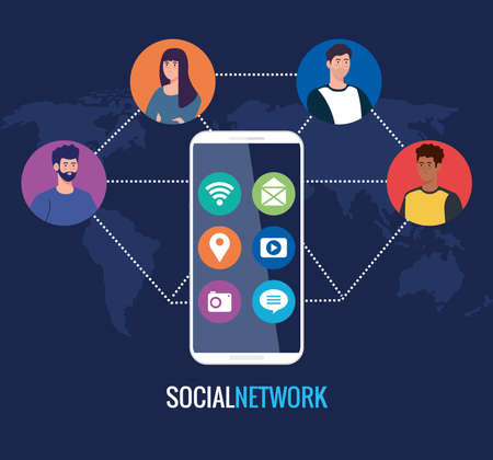 social network, people with smartphone, connected for digital, interactive, communication and global concept vector illustration design