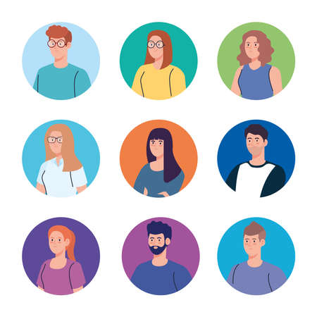 group young people, women and man in circle vector illustration design