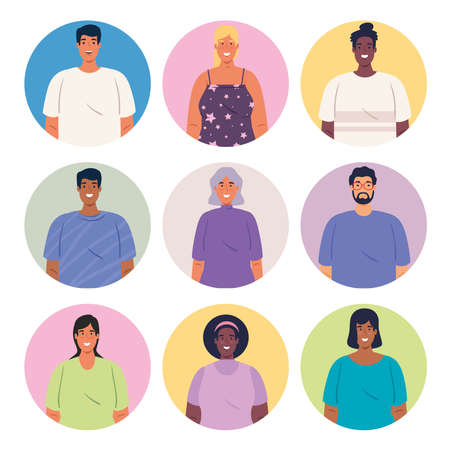 multiethnic group of people together in circles, diversity and multiculturalism concept vector illustration design