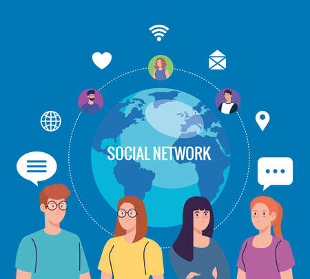 young people and social network community, interactive, communication and global concept vector illustration design Vector Illustratie