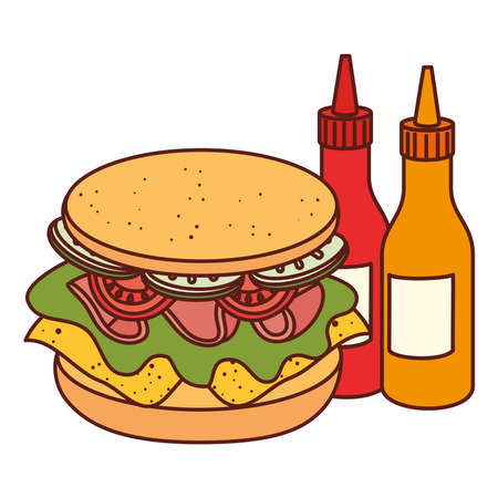 delicious sandwich with bottled sauce on white background vector illustration design