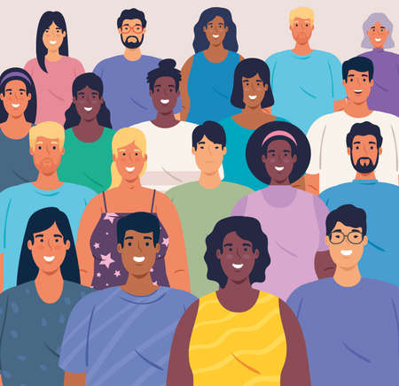 multiethnic big group of people together, diversity and multiculturalism concept vector illustration design