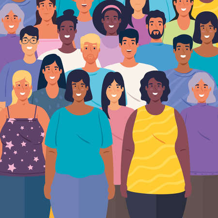 multiethnic group of people together background vector illustration design