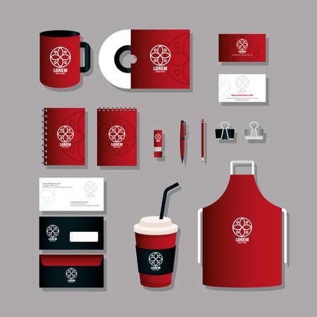 corporate identity brand mockup, set business stationery, black and red mockup with white sign vector illustration design Ilustração Vetorial